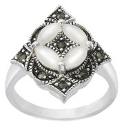 Silver Plated Antique Style Marcasite Ring