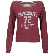 Brave Soul Women's University Print Sweatshirt - Claret