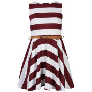 Club L Women's Striped Sleeveless Belted Skater Dress - Wine/White