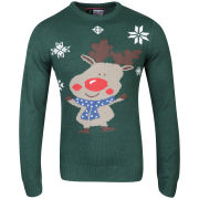 Christmas Branding Rudolf Knitted Jumper - Evergreen