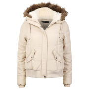 Arctic Story Women's Fur Trim Coat - Beige