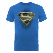 DC Comics Men's T-Shirt - Superman Engraving Logo - Royal Blue