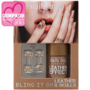 nails inc. Bling It On Tan Leather and Skulls