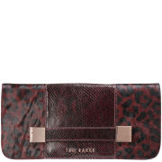 Ted Baker Mandira Leather Metal Squares Clutch - Oxblood