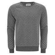 Scotch & Soda Men's Raglan Sleeve All-Over Dogtooth Print Sweatshirt - Grey