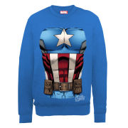 Marvel Avengers Assemble Captain America Chest Burst Men's Sweatshirt - Royal Blue