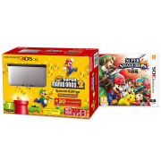 Nintendo 3DS XL Silver and Black Console - Includes New Super Mario Bros 2 & Super Smash Bros.