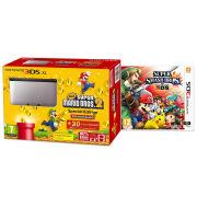 Nintendo 3DS XL Silver and Black Console - Includes New Super Mario Bros 2 & Super Smash Bros.