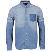 Brave Soul Men's Cresta Long Sleeve Shirt - Denim
