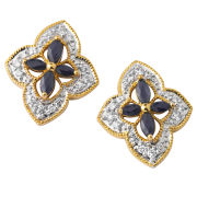 Two Toned Gold Plated Diamond Shaped Sapphire Earrings