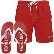Tokyo Laundry Men's Miki Swim Shorts and Flip Flops - Tokyo Red