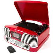 GPO Memphis Turntable 4-in-1 Music System with Built in CD and FM Radio - Red