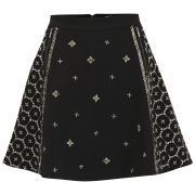 AnhHa Women's Neoprene Embellished Beaded Skater Skirt - Black