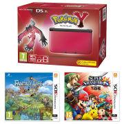 Nintendo 3DS XL Red and Black Console - Includes Pokemon Y, Super Smash Bros.  & Fantasty Life