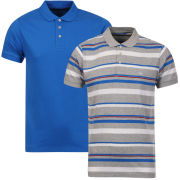 Brave Soul Men's Aquitania 2-Pack Polo Shirts - Cobalt Blue/Burgundy/White Stripe & Cobalt Blue