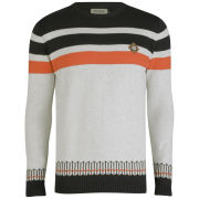 Jack & Jones Men's Point O-Neck Stripe Jumper - Treated White