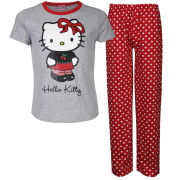 Hello Kitty Girls' Polka Dot Pyjama Set - Grey Marl/Red