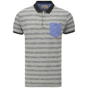 Brave Soul Men's Hermann Striped Polo Shirt - Grey/Charcoal/Royal