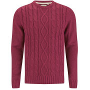 Brave Soul Men's Ludwig Cable Knitted Jumper - Red