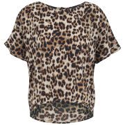VILA Women's Leolife Leopard Print Top - Oak Brown