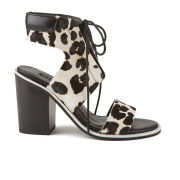Senso Women's Riley V Leopard Print Pony Heeled Sandals - Chalk