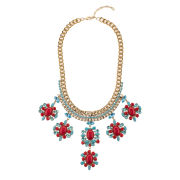 Martine Wester Opulent Statement Necklace - Gold/Blue/Red