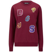 House of Holland Women's Sequin Letter Sweatshirt - Maroon