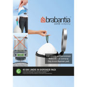 Brabantia PerfectFit Bags 23-30 Litre [G], Dispenser Pack of 40 Bags - White