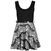 Club L Women's Sleeveless Flocked Belted Skater Dress - Black/White