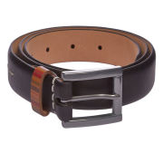 Paul Smith Accessories Men's Slim Strap Keeper Leather Belt - Black