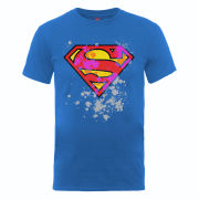 DC Comics Men's T-Shirt - Superman Splatter Logo - Royal Blue