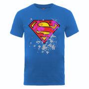 DC Comics Men's T-Shirt Superman Splatter Logo - Royal Blue