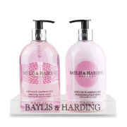 Baylis & Harding Mosaic Wild Rose and Raspberry Leaf 2 Bottle Gift Set in a Clear Acrylic Rack