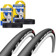Vittoria Rubino Pro Tech Clincher Road Tyre Twin Pack with 2 Free Inner Tubes - Black/Grey 700c x 25mm