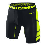 Nike Men's Hypercool Compression 6 Inch Shorts - Black/Volt Green