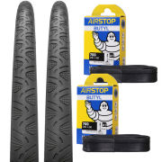 Continental Grand Prix 4Season Clincher Road Tyre Twin Pack with 2 Free Inner Tubes - Black 700c x 25mm