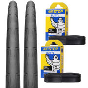 Continental Grand Prix Attack II Clincher Road Tyre Twin Pack with 2 Free Tubes - Black 700c x 22mm