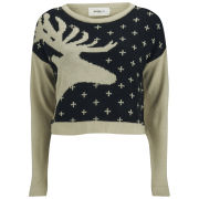 Vero Moda Women's Lucila Reindeer Christmas Jumper - Black