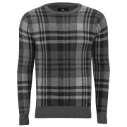 Scotch & Soda Men's Blown-Up Check Crew Neck Pullover - Grey Multi