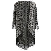 Influence Women's Aztec Tassel Kimono - Black
