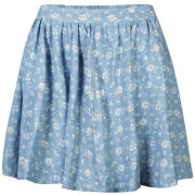 AX Paris Women's Denim Floral Skater Skirt - Floral