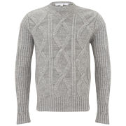 Carven Men's Crew Neck Zip Shoulder Cable Knit - Grey