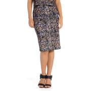Damned Delux Women's Blurred Daisy Pencil Skirt - Khaki/Black