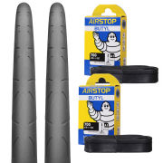 Continental Grand Prix Clincher Road Tyre Twin Pack with 2 Free Tubes - Black 700c x 25mm