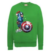 Marvel Avengers Assemble Captain America Comic Burst Men's Sweatshirt - Irish Green