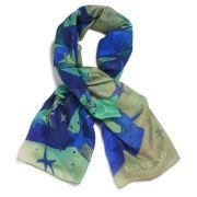 Lisa King Stars and Stripes Rolled Hem Scarf - Green/Blue