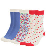 Love Struck Women's 3 Pack Sock Gift Set - Blue/Multi