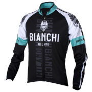 Bianchi Men's Rienza Long Sleeve Full Zip Jersey - Black/White/Celeste