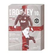 Manchester United Rooney Retro - 40 x 30cm Canvas
