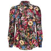 Love Moschino Women's Flower Print Puff Sleeve Shirt - Multi